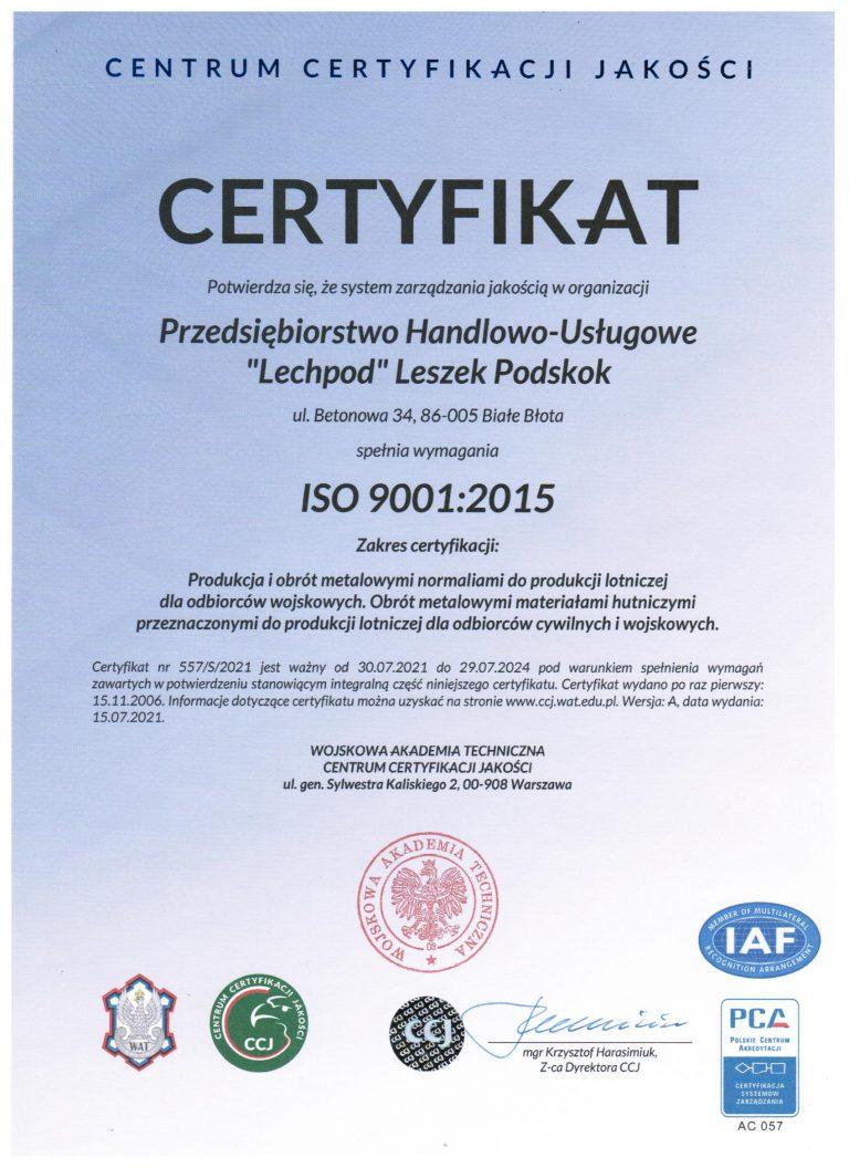 Odnowione ISO 9001:2015 oraz AQAP 2110-2016